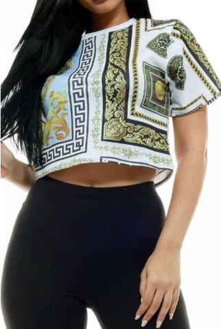Tribal Glam Crop Top White