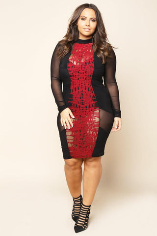 Black/Red Mesh Front Dress Plus Size