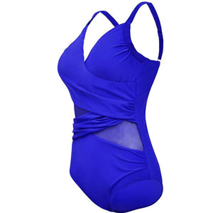 Tease Me Mesh Panel Swimsuit - Blue