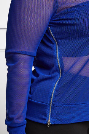 Royal Blue Mesh Sheer Hoodie