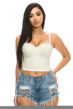Bustier Top Plus Size - White & Pearl Accent