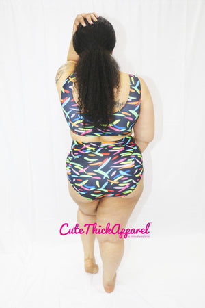 2-Piece Plus Size Confetti with Cut-Out