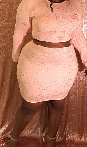 2 Piece Rhinestone Crop/Skirt Set - Pink