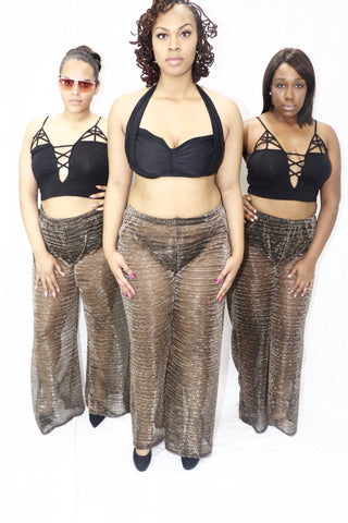 Plus Size Swim Sexy Sheer Mesh Coverup Pants - Gold