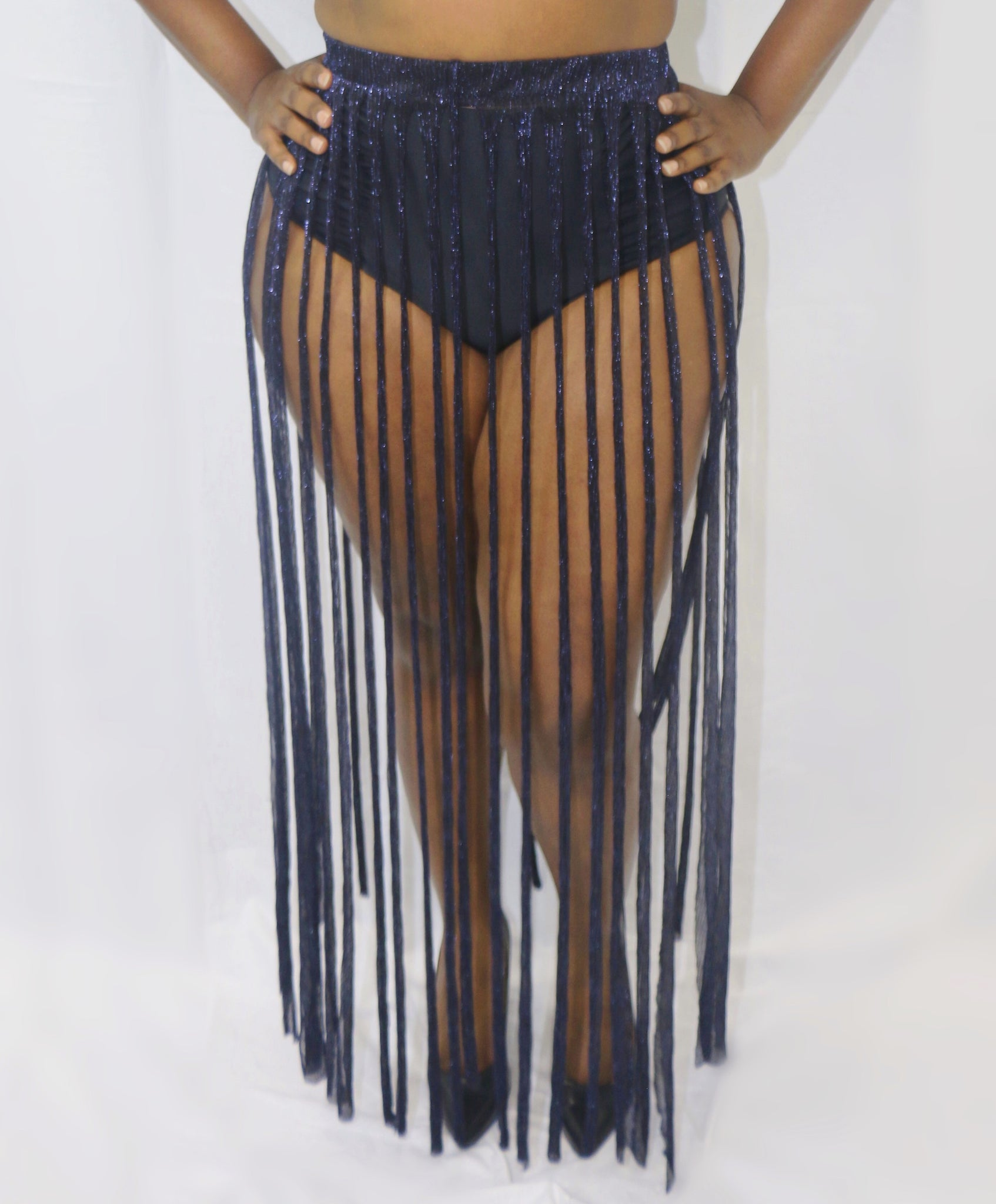 Navy Fringe Metallic Skirt