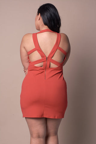 Plus Size Strappy Back Zipper Mini Dress - Orange