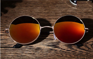 Round Orange Tinted Mirror Sunglasses