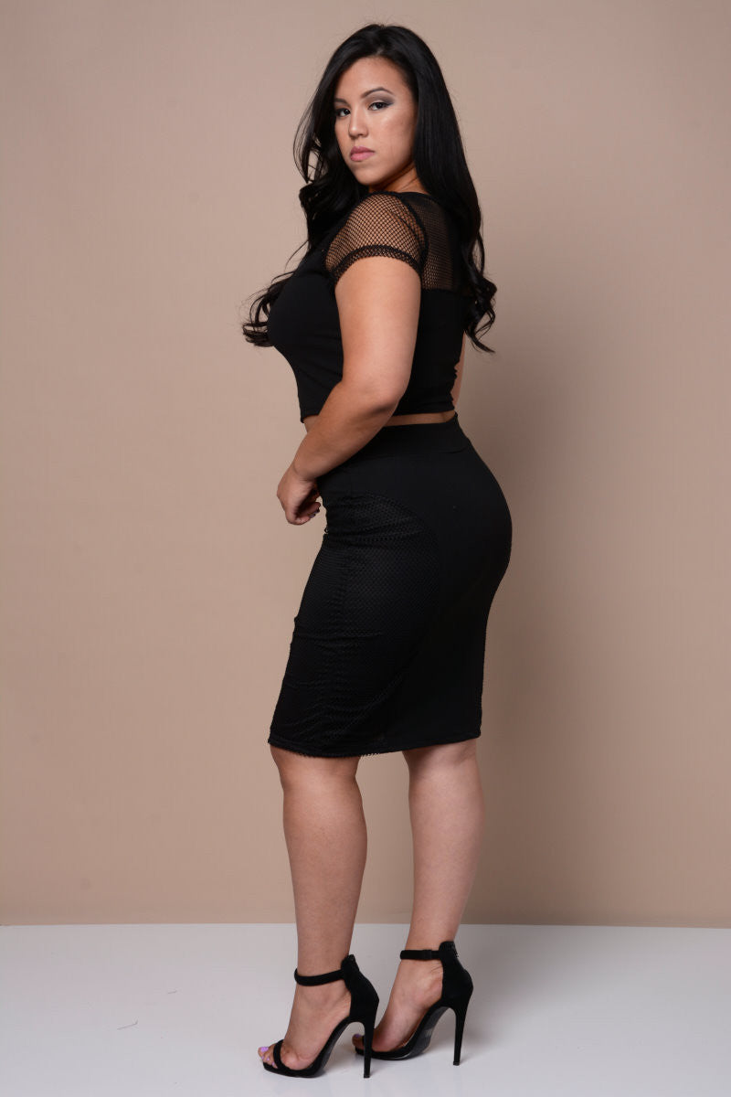 Plus Size Solid Skirt with Lace Overlay - Black