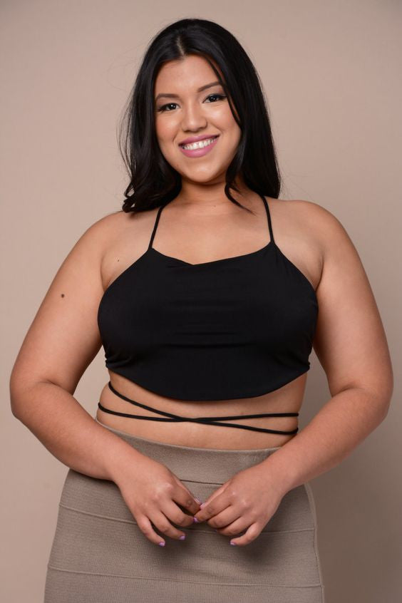 Plus Size Crop Strappy Back Top - Black
