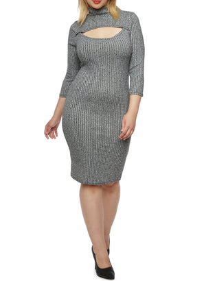 Plus Size Ribbed Dress - Heather Grey
