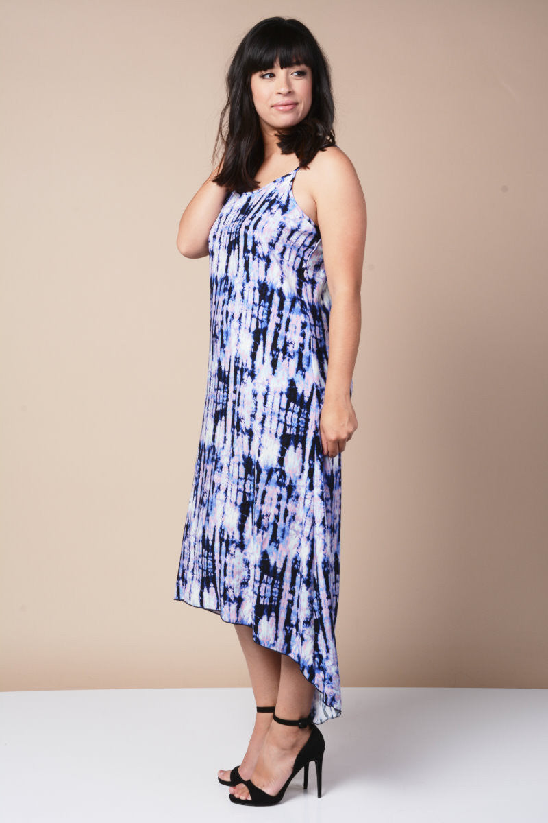 Plus Size Hi-Lo Blue Tye-Dye Dress