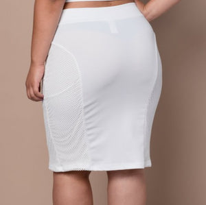 Plus Size Solid Skirt with Lace Overlay - White