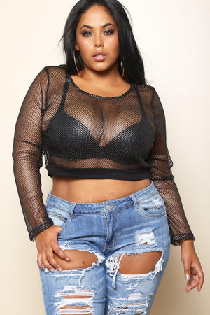 Mesh Beach Party Rock Crop Top - Black