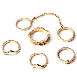 Midi Ring Set - 6 Piece Gold