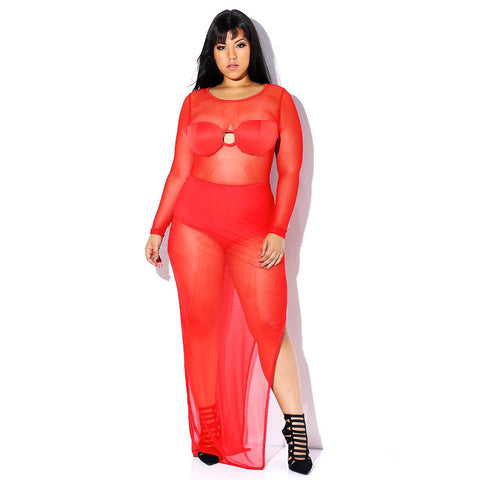 Plus Size Sheer Mesh High Slit Maxi Dress-Red