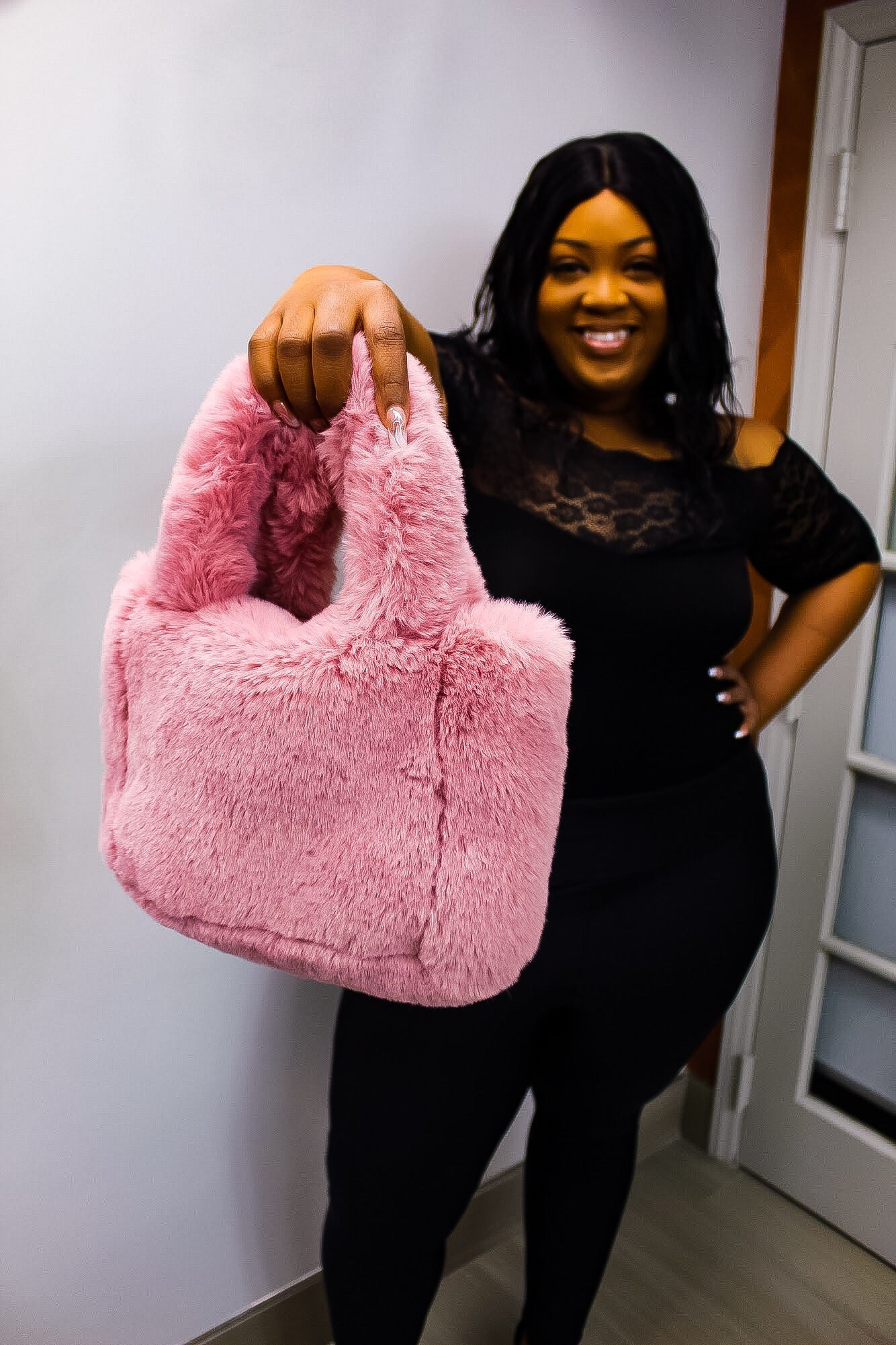 Pink Fur Fuzzy Bag