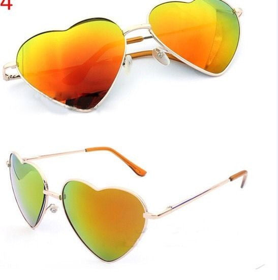 Trendy Mirror Heart Frame Sunglasses
