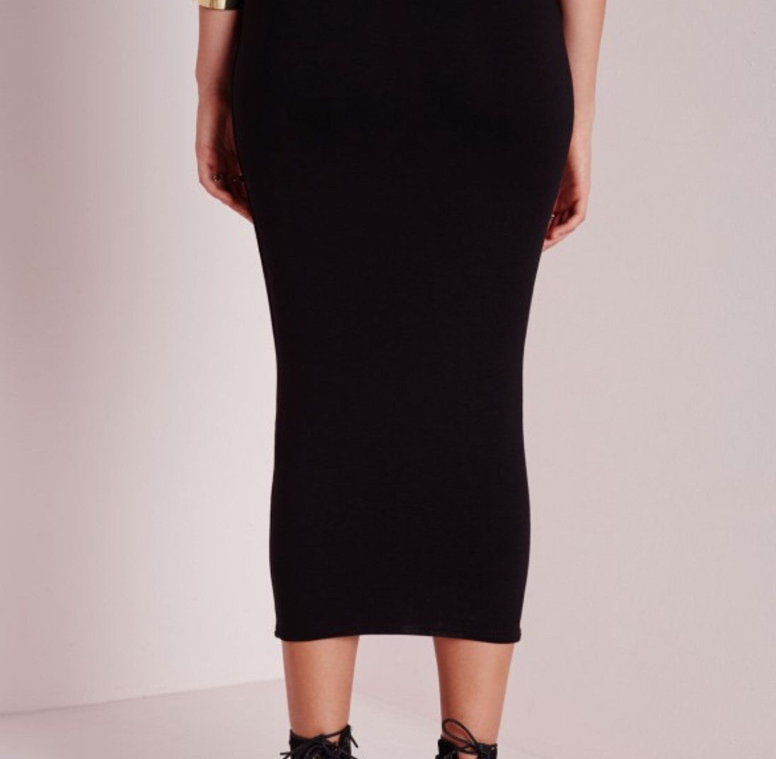 Plus Size Midi Pencil Skirt Bodycon - Black