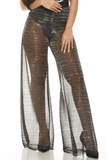 Plus Size Swim Sexy Sheer Mesh Coverup Pants - Silver