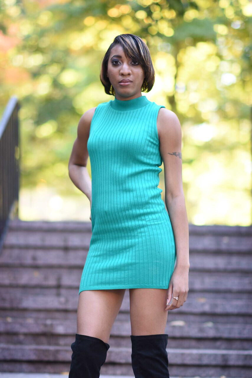 Green Turtleneck Sweater Dress