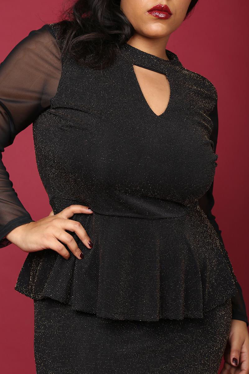 Glitter Mesh Sleeve Peplum Dress