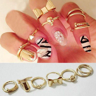 Gold Midi Ring Set - 7 Pieces