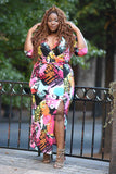 Plus Size Print Maxi Long-Sleeve Dress