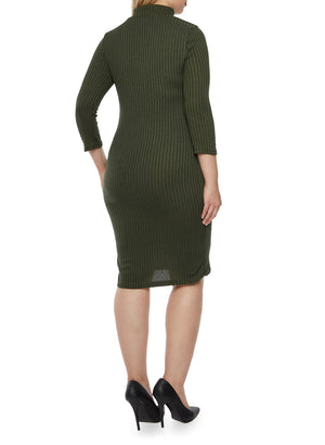 Plus Size Ribbed Dress - Olive Green