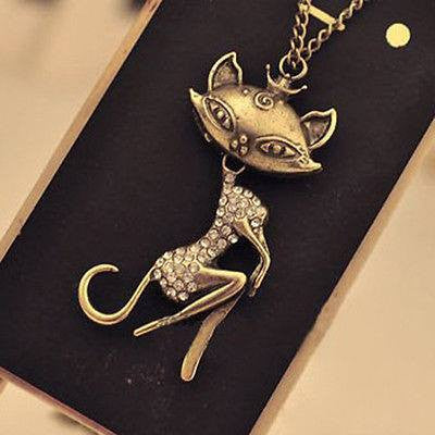 Crystal Rhinestone Cat Necklace