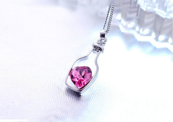 Red Heart Crystal Pendant Necklace - Exclusive Deal