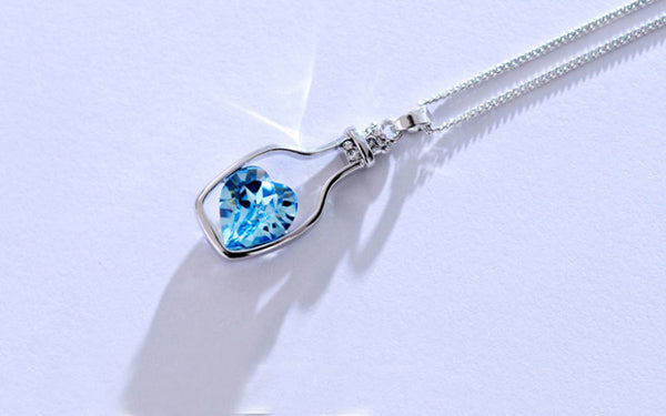Blue Heart Crystal Pendant Necklace