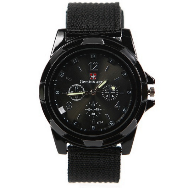 Military Style Canvas Belt Luminous Quartz Watch - Exclusive Deal