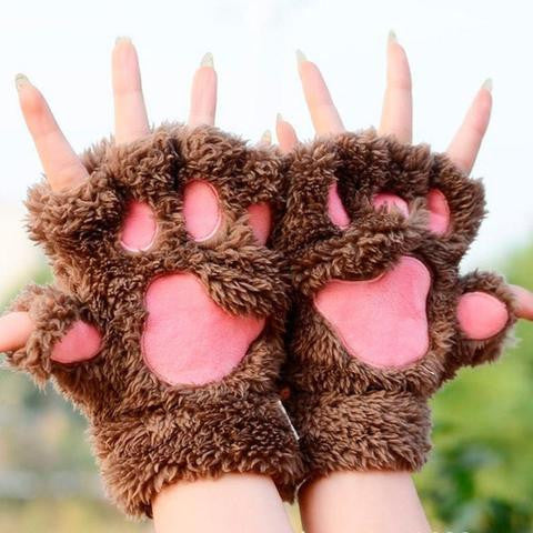 Lovely Cat Plush Paw Gloves - Offer