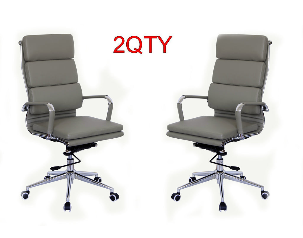 Classic Replica High Back Office Chair (Set of 2) - Grey Vegan Leather, thick high density foam, stabilizing bar swivel & deluxe tilting mechanism - US Office Elements
