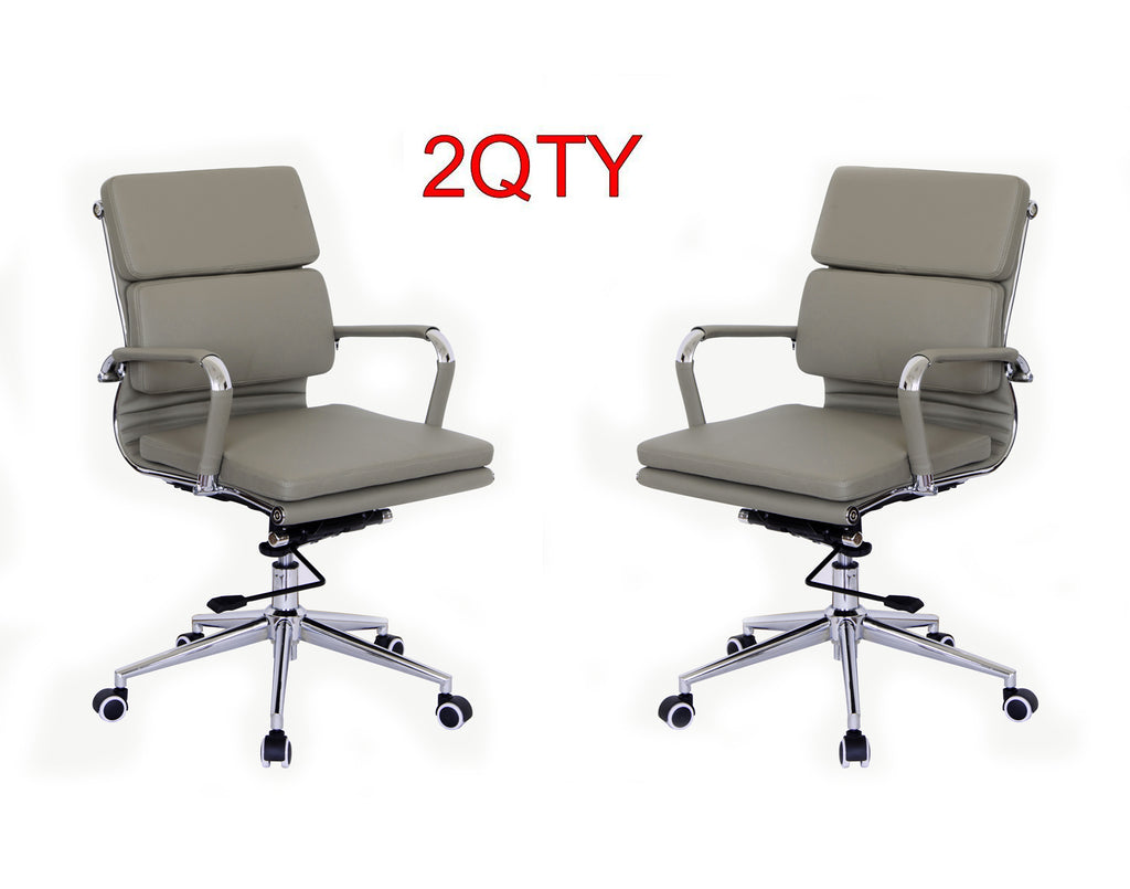 Classic Replica Medium Back Office Chair (Set of 2) - Grey Vegan Leather, thick high density foam, stabilizing bar swivel & deluxe tilting mechanism - US Office Elements