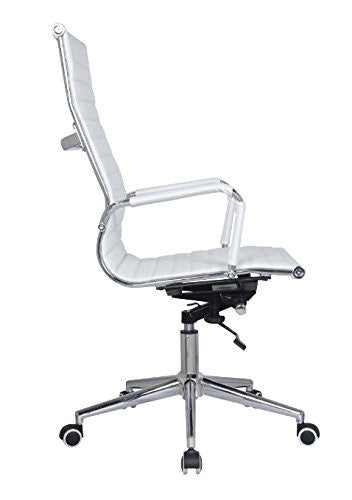 Classic Eames Replica white leather high back chair with chrome arms - side view