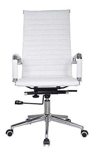 Classic Eames Replica white leather high back chair with chrome arms - front view