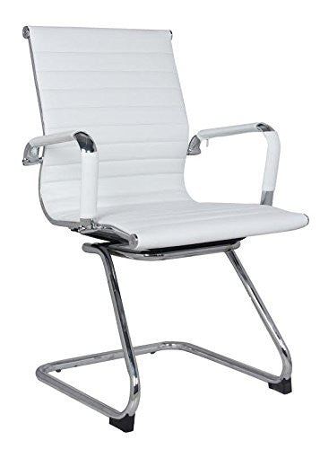 Classic Eames Replica black leather visitor's chair with chrome arms - side view