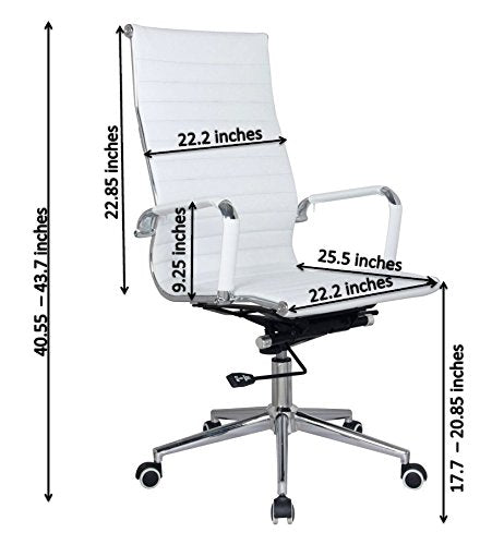 White Modern Executive Classic Ribbed High Back Office Chair in Vegan  Leather - Sold in a PACK of 2