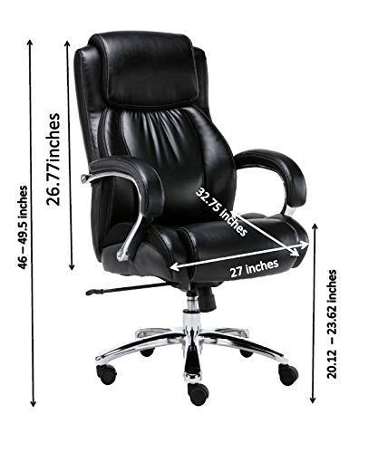 Big and Tall Heavy Duty Black Bonded Leather Corporate Executive High Back Office Chair - Supports 500LBS - US Office Elements