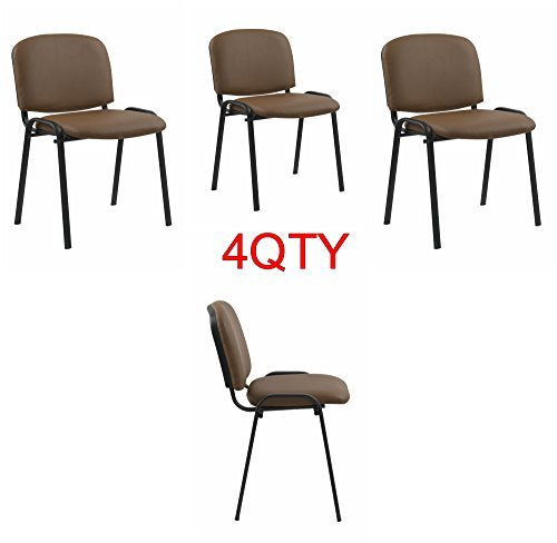 Tan Modern Stacking Office Chairs in Comfortable PU Leather - Suitable for Offices, Training, Conferences, Churches, Community Centres and Home. Sold in a Pack of 4 Chairs - US Office Elements