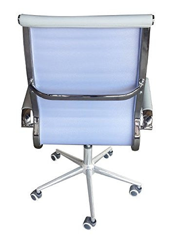 Classic Eames Replica white leather high back chair with chrome arms - back view