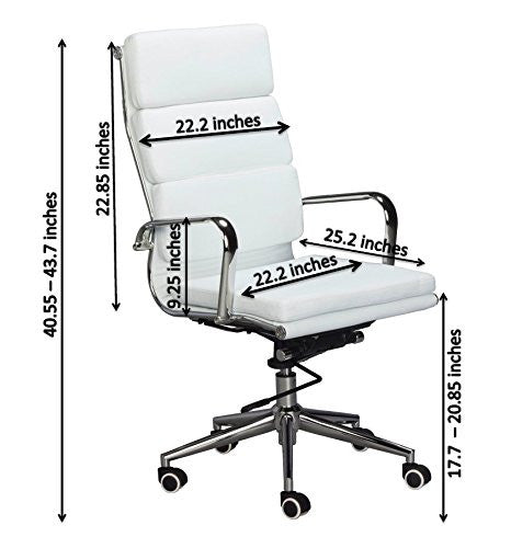 Padded High Back Office Chair   WHITE Vegan Leather