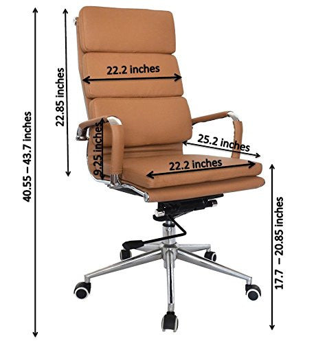 Camel Vegan Leather Executive Classic Padded High Back Office Desk Chair