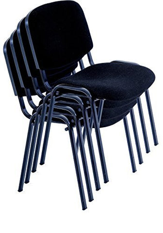 Black Modern STACKING CHAIRS in comfortable cloth - suitable for office, training, conferences, churches, community centres and home. Sold in a (PACK of 4) chairs - US Office Elements