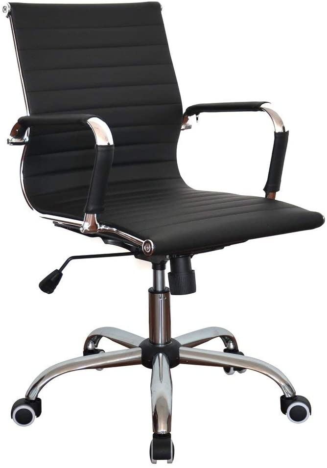 Black of Ribbed Pleather Classic Executive Medium Back Chair for Home and Office