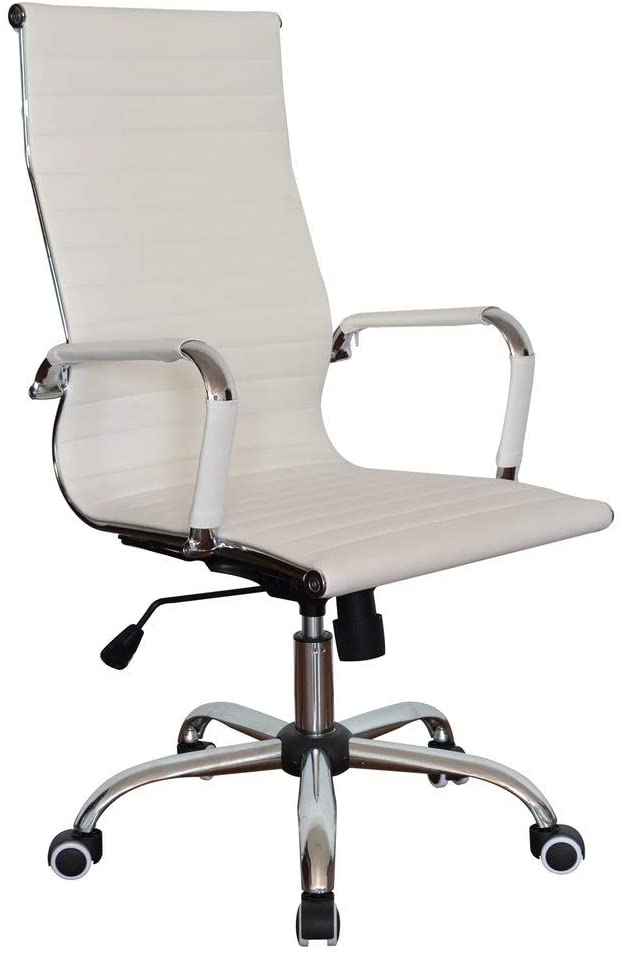 Classic Replica High Back Ribbed Ergonomic Office Wheels Chair Leather Swivel & Tilt Adjustable Manager Executive White Chair for Management Boss Office Conference Boardroom Work Task Computer
