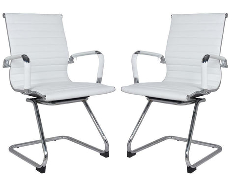 Classic Eames Replica black leather visitor's chair with chrome arms - side views
