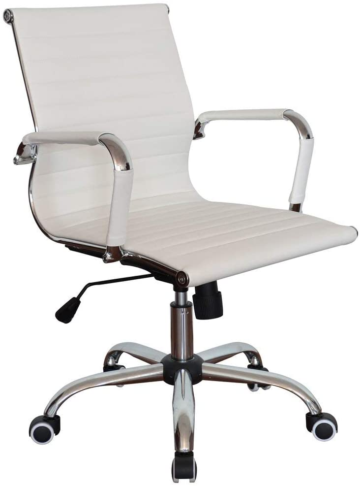 Ribbed White Pleather Classic Executive Medium Back Chair for Home and Office
