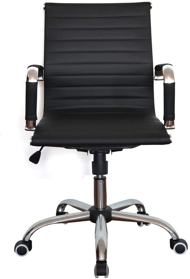 Ribbed Pleather Classic Executive Medium Back Chair for Home and Office (Black, Double)